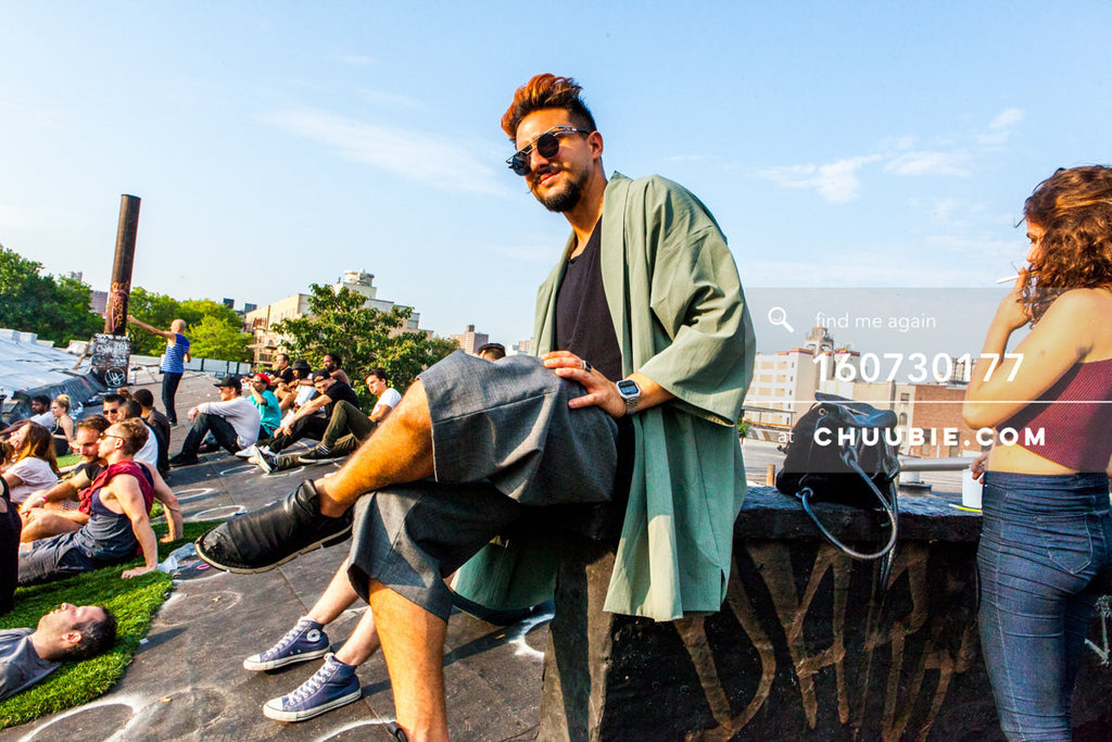 160730177 | Portrait of guy in robe on Brooklyn summer rooftop. — Sublimate & Ruse Labs present: Mood ii ... | Team Chuubie