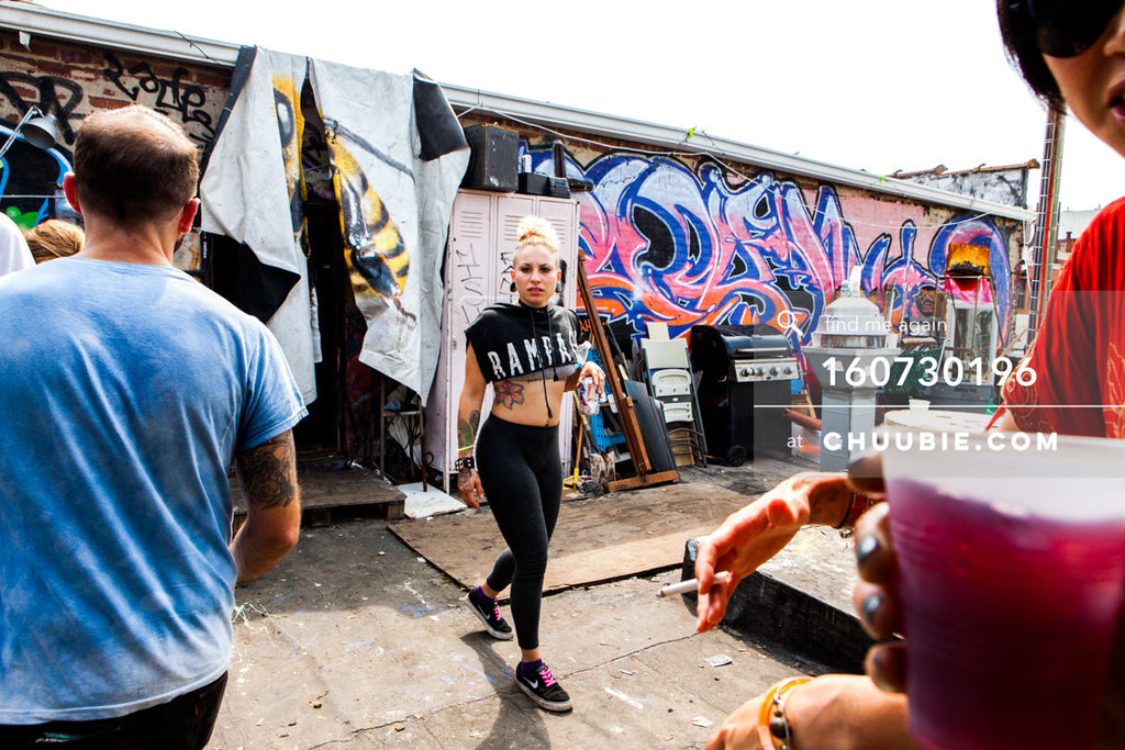 160730196 |  Sporty punk girl RAMPAGE on graffiti Brooklyn rooftop summer party.   — Sublimate & Ruse Lab... | Team Chuubie
