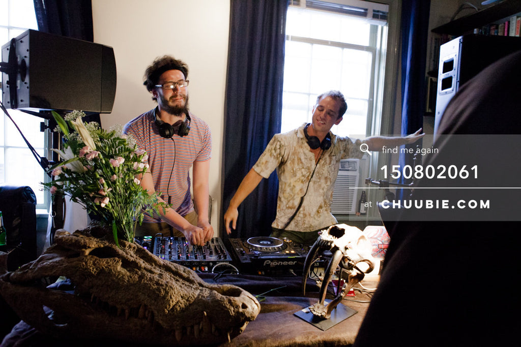 150802061 | Sagotsky & Gleitzman cheer behind the DJ decks at the Team Fun summer sessions. —Team Fun BBQ... | Team Chuubie