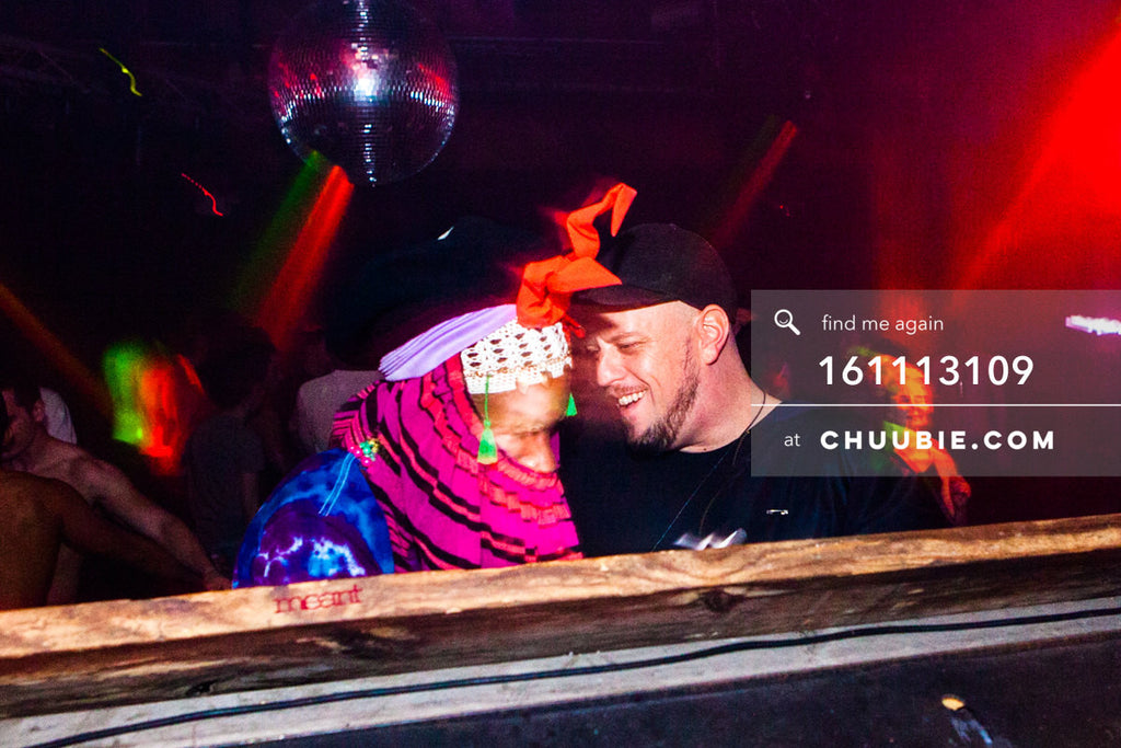 161113109 | Xander & Michael Magnan laughing in conversation at the DJ booth. — The Carry Nation w/ Sweat... | Team Chuubie
