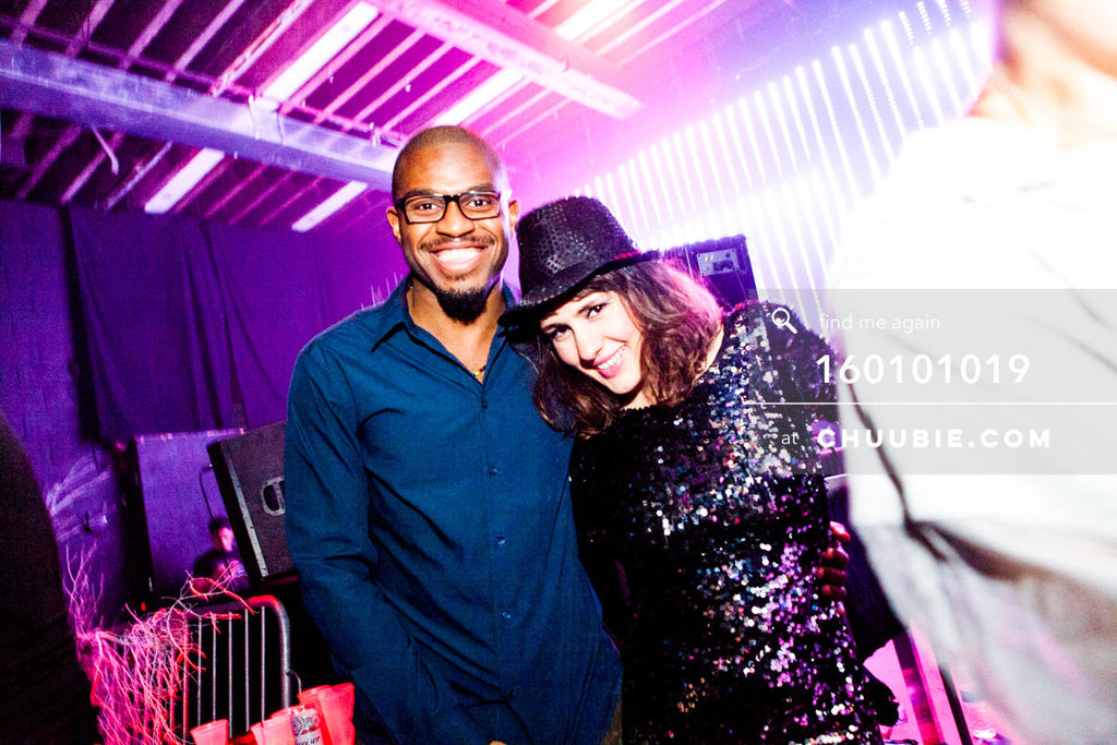 160101019 | Smiling guy and girl at ZigZag New Year 2016. —Tal Ohana's ZigZag Deep NYC. New Year 2016 warehou... | Team Chuubie