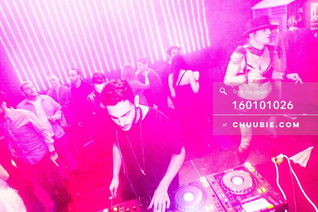 160101026 | Pink Duotone Photo of Shahar Shetrit DJing NYC Warehouse Party —Tal Ohana's ZigZag Deep NYC. New ... | Team Chuubie
