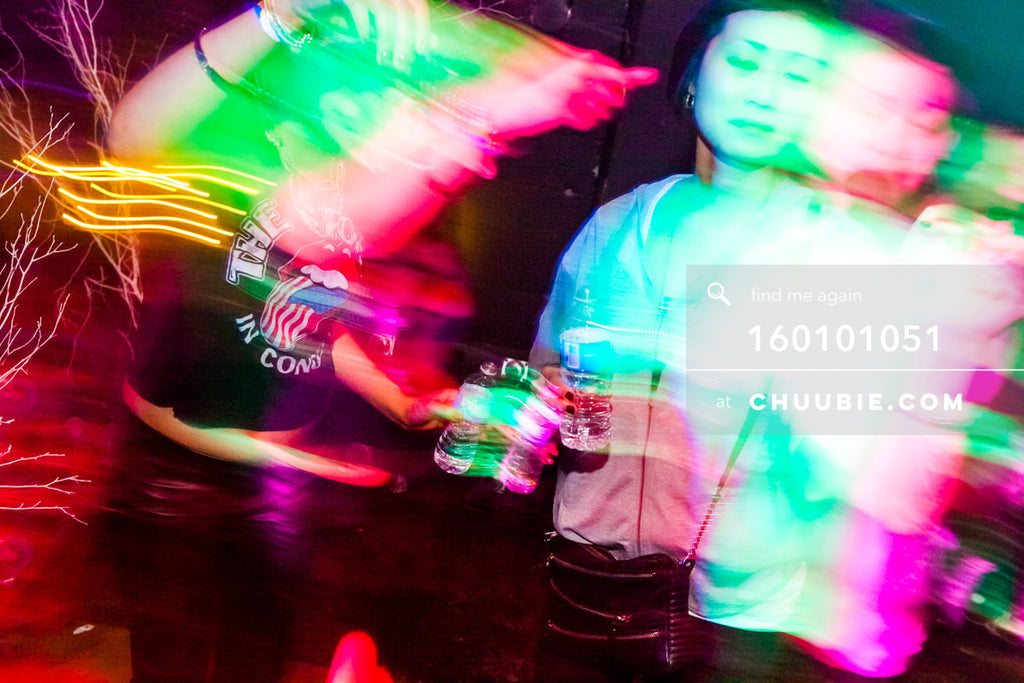 160101051 | Female dancers with Teal & Pink motion blur trail —Tal Ohana's ZigZag Deep NYC. New Year 2016... | Team Chuubie
