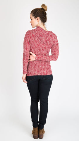 """Ophelia - Merlot"" Cowl Neck During & After Sweater"
