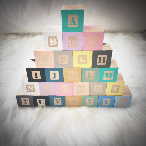 "The ""Hand-Painted Wooden Alphabet"" Blocks"