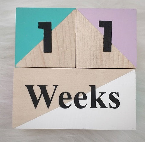 "The ""Hand-Painted Natural Wood"" Baby Milestone Blocks ***more colors***"