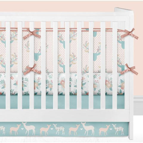 """Coral Waves"" Bumperless Crib Bedding Set"