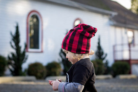 "The Reversible Red & Black Plaid ""Slouchy"" Beanie"