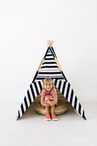 "The ""All Black and White Striped"" Teepee"