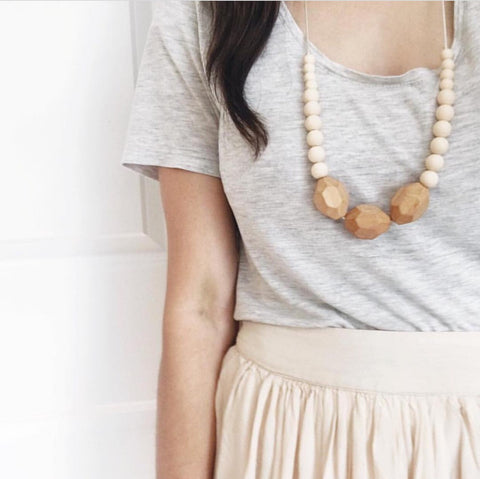 "The ""Austin-Cream"" teething necklace"