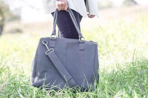 """Baby Bag- Grey"" Genuine Leather Bag"