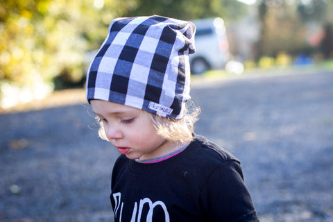 "The Reversible Black & White Plaid ""Slouchy"" Beanie"