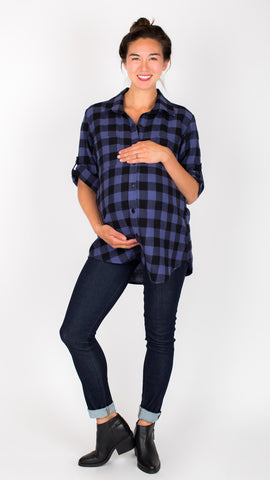 """Campbell- Navy/Black Plaid Flannel"" During & After Top"