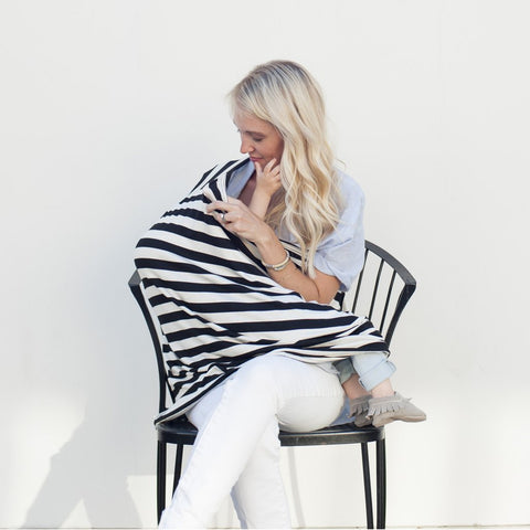 """Multi-Use Nursing Cover"" - Classic Black & Ivory"
