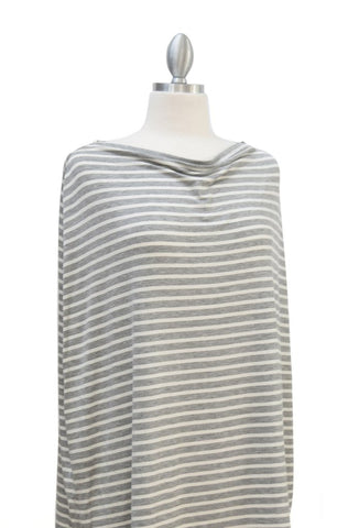 """Multi-Use Nursing Cover"" - Grey & Ivory Pinstripe"