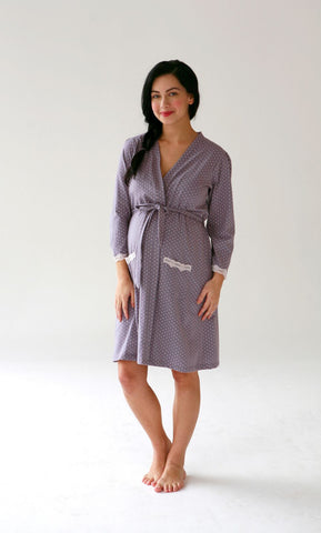 """Grey Dottie"" Nursing Robe"