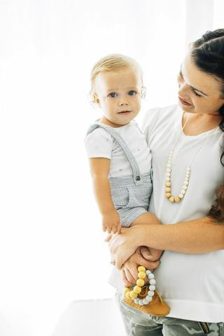 "The ""Landon-Cream"" teething necklace"