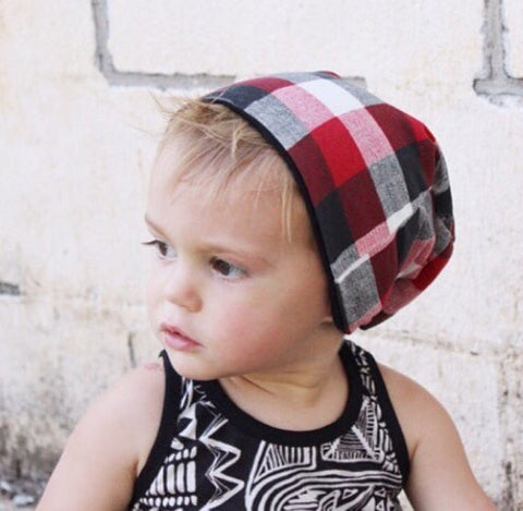 "The Reversible Red, White & Black Plaid ""Slouchy"" Beanie"