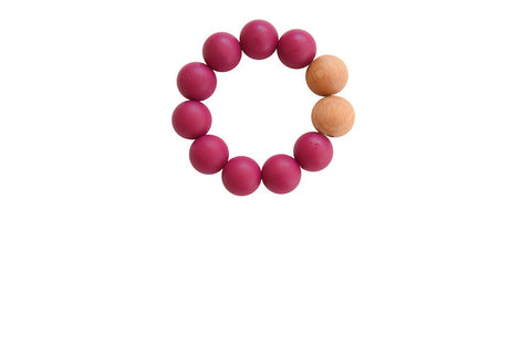 Silicone + Wood-Plum Teether