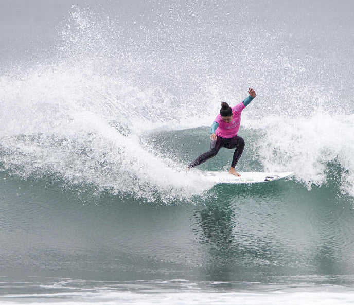 Malia Manuel shredding her way into the Quarterfinals of the Swatch Womens Pro at Lower Trestles.