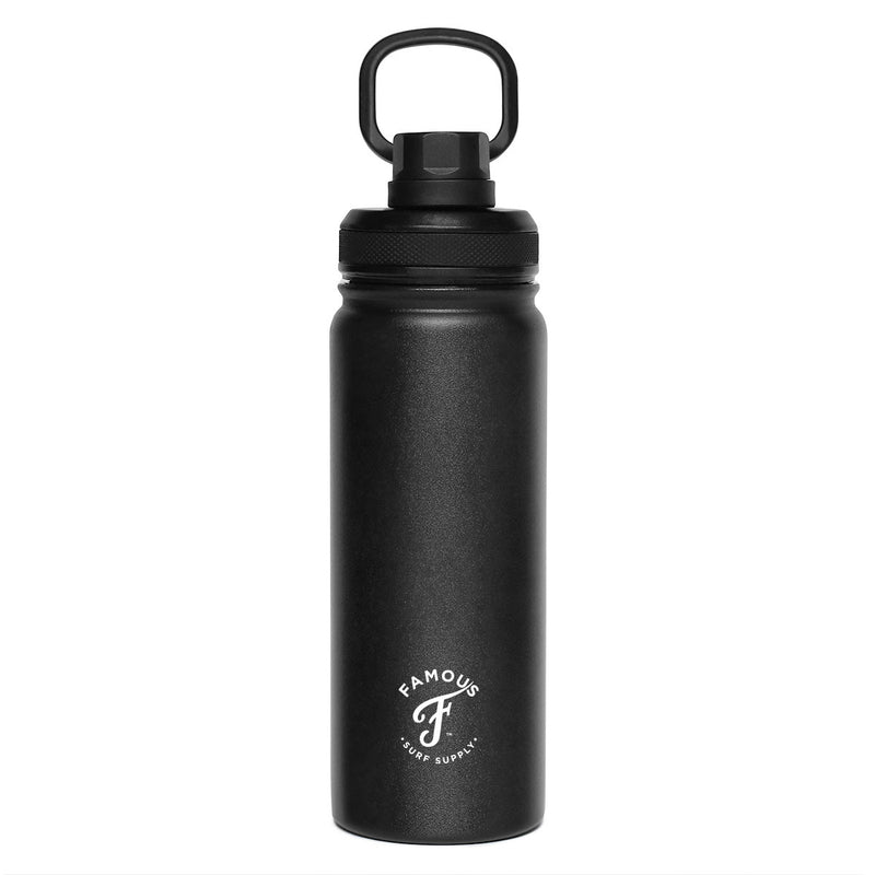 Black water flask with white logo by Famous Surf Supply