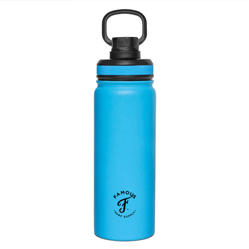 Sky Blue water flask with black lid by Famous Surf Supply