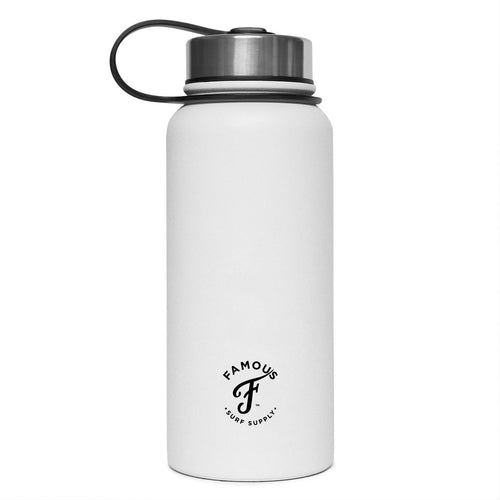White water flask with black logo by Famous Surf Supply