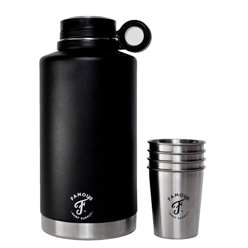 64oz Growler Flask w/ 4 8oz Stainless Steel Camping Cups