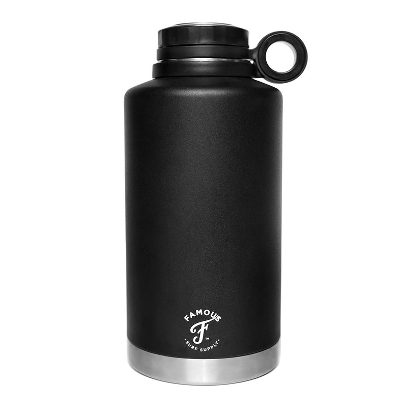 64oz Black water flask with white logo by Famous Surf Supply
