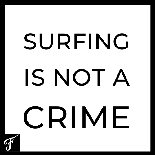 Surfing is not a Crime Sticker Square
