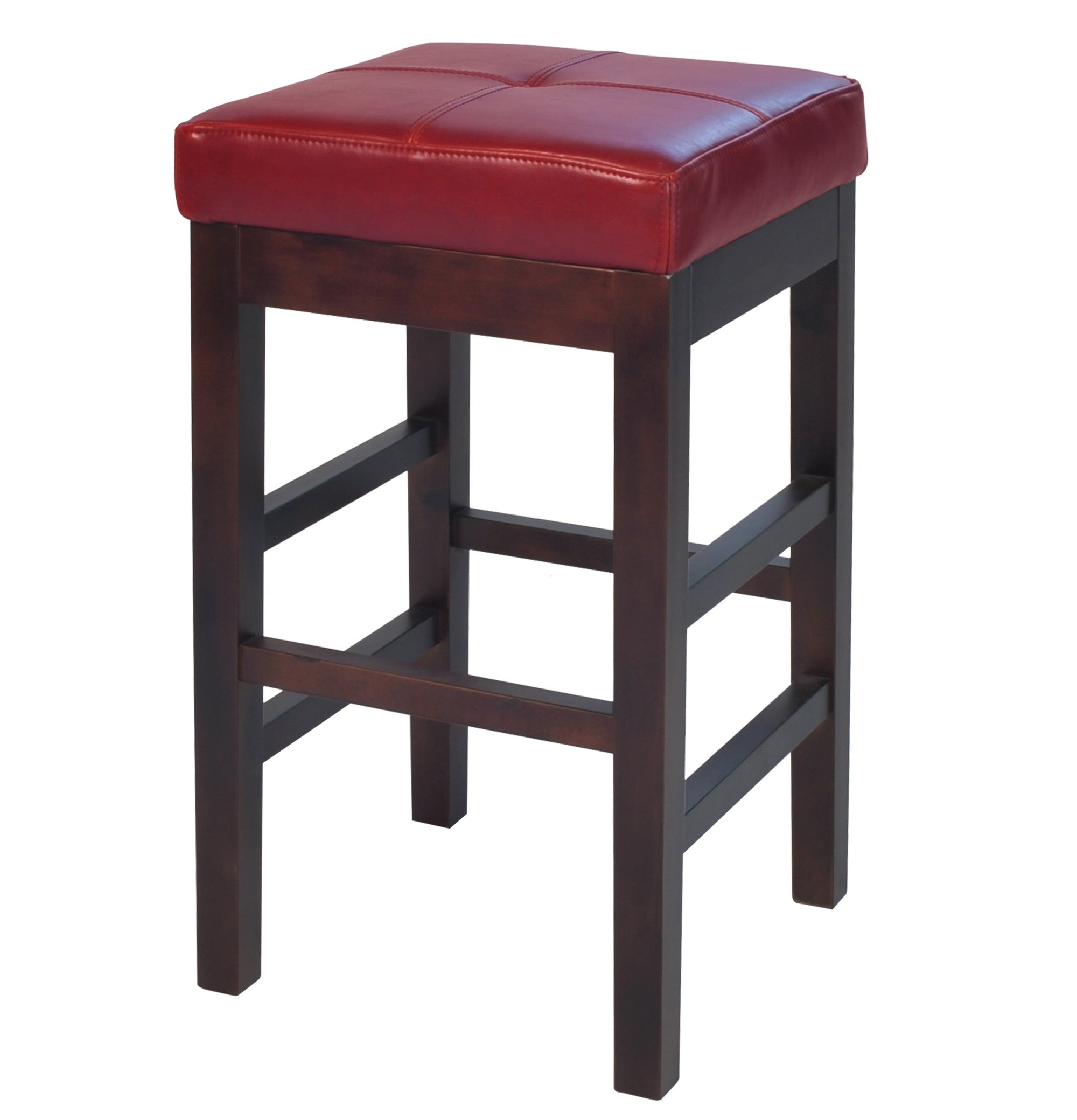 SOVO Kieran Backless Leather Counter Stool Red
