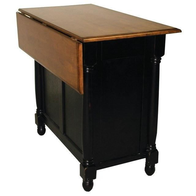 Sunset Trading Black Kitchen Island with Drop Leaf Top