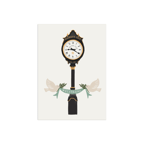 Ellicott City Clock Print by Anchor Point Paper Co.
