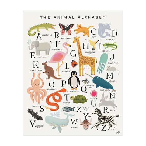 Animal Alphabet Print - Anchor Point Paper Co.