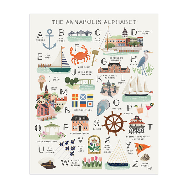 Annapolis Alphabet Art Print - Anchor Point Paper Co.