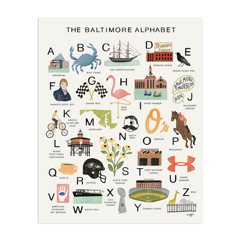 Baltimore Alphabet Art Print - Anchor Point Paper Co.
