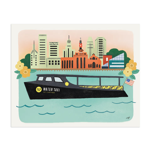Baltimore Water Taxi Art Print - Anchor Point Paper Co.