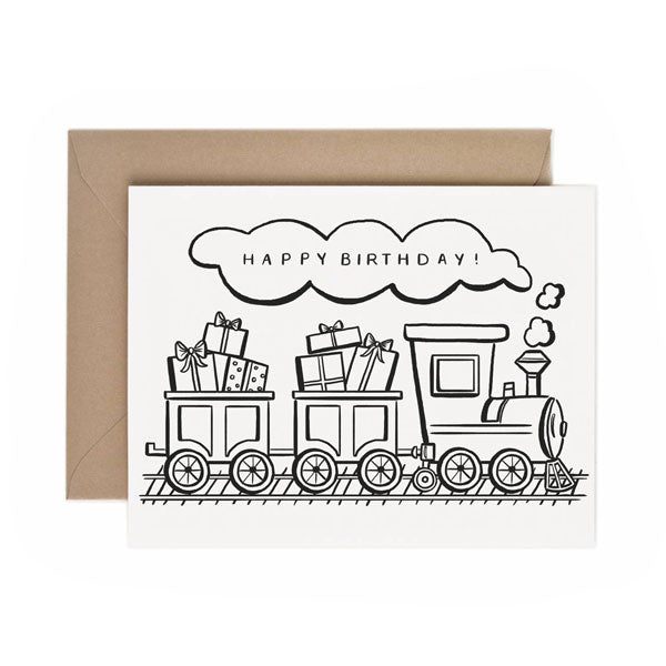 Color-In Birthday Train - Anchor Point Paper Co.