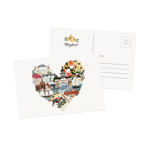 Maryland Heart Postcard - Anchor Point Paper Co.