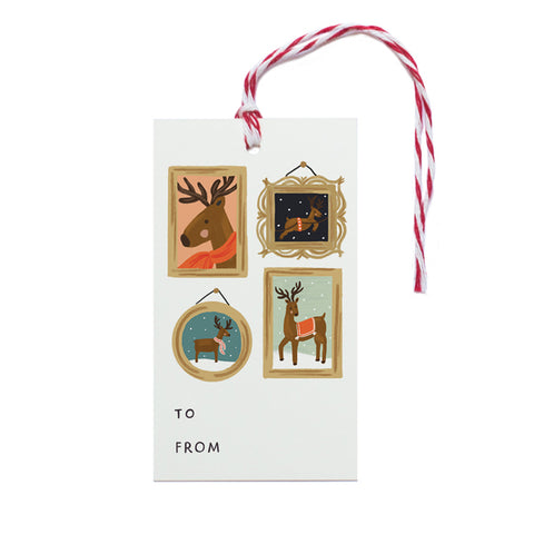 Reindeer Portraits Gift Tag - Anchor Point Paper Co.