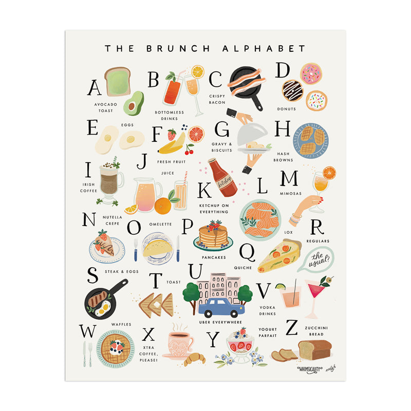 Brunch Alphabet (Whimsicality Exclusive) - Anchor Point Paper Co.