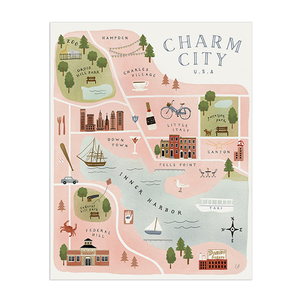 Charm City Map by Anchor Point Paper Co.