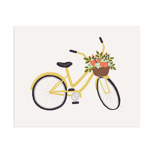 Yellow Bicycle Print - Anchor Point Paper Co.
