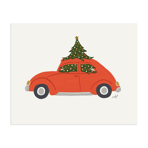 Christmas Car Art Print - Anchor Point Paper Co.