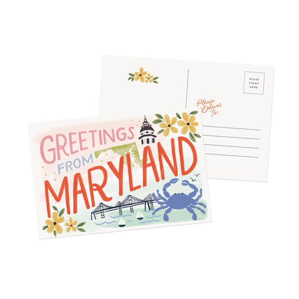 Greetings From Maryland Postcard - Anchor Point Paper Co.