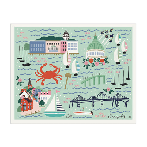 "Annapolis ""Naptown"" Art Print - Anchor Point Paper Co."