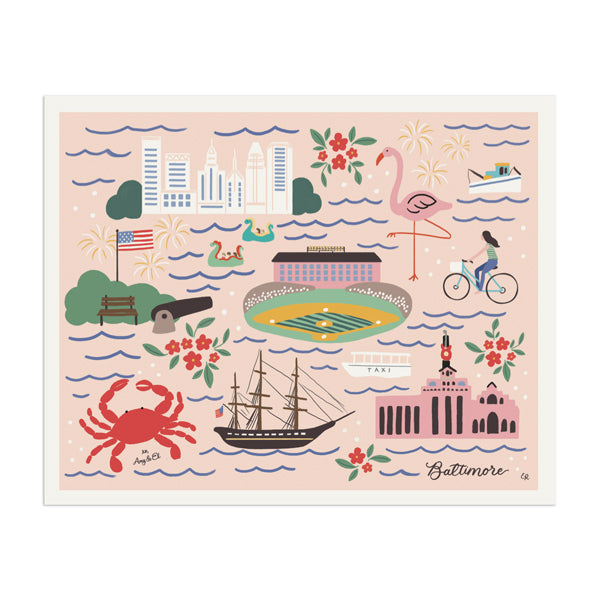 "Baltimore ""Charm City"" Art Print - Anchor Point Paper Co."