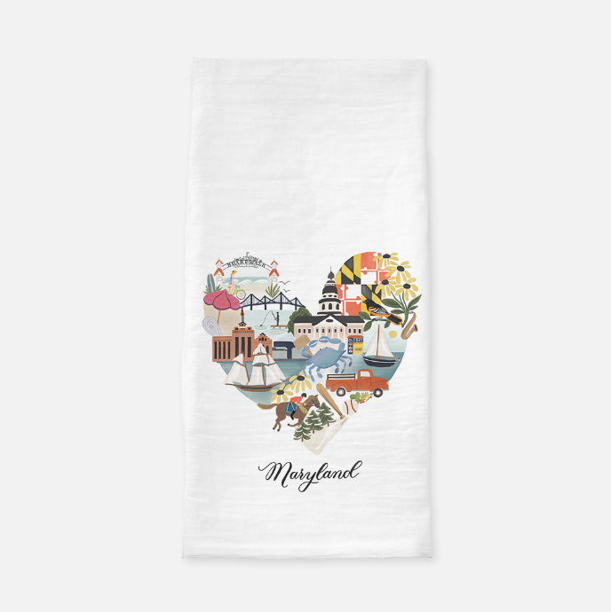 Maryland Heart Tea Towel - Anchor Point Paper Co.