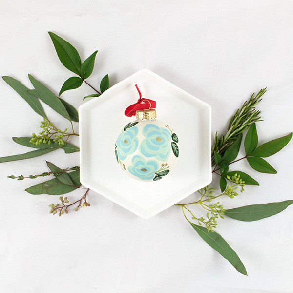 Blue Floral Ornament - Anchor Point Paper Co.