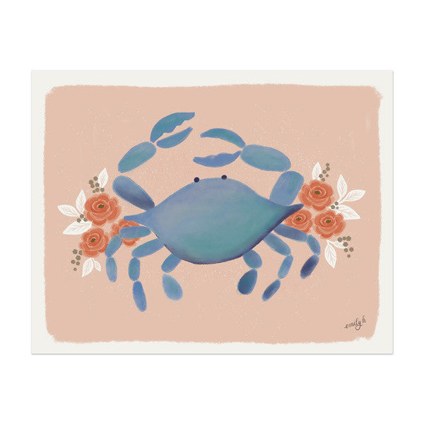 Pink Crab Print - Anchor Point Paper Co.